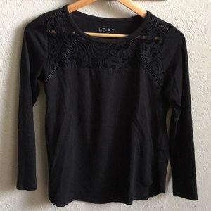 LOFT Black Long Sleeve Shirt- Small Petite